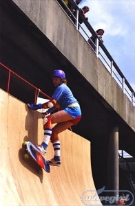 Super Slider. Sue Hazel at the Crystal Palace Challenge 1983.